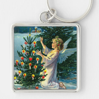 Angel Decorating Christmas Tree 2 Silver-Colored Square Key Ring