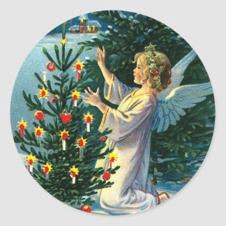 Angel Decorating Christmas Tree 2 Sticker