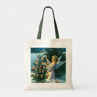 Angel Decorating Christmas Tree 2 Budget Tote Bag