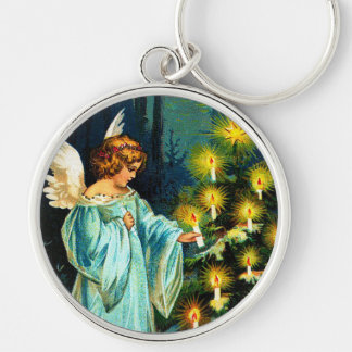 Angel Decorating Christmas Tree Silver-Colored Round Key Ring