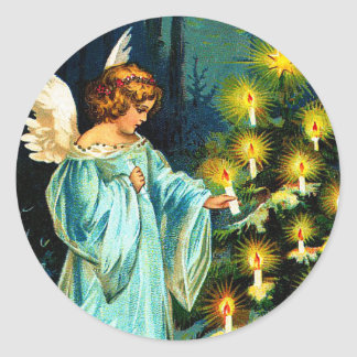 Angel Decorating Christmas Tree Sticker