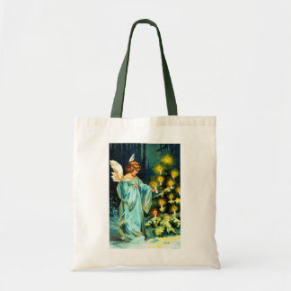 Angel Decorating Christmas Tree Budget Tote Bag