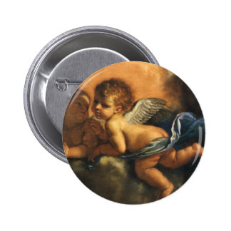 Angel detail, Patron Saints of Modena by Guercino 6 Cm Round Badge