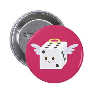 Angel Dice with Hearts 6 Cm Round Badge