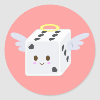 Angel Dice with Hearts Round Sticker