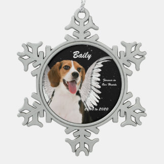 Angel Dog Beagle Memorial Christmas Snowflake Pewter Christmas Ornament
