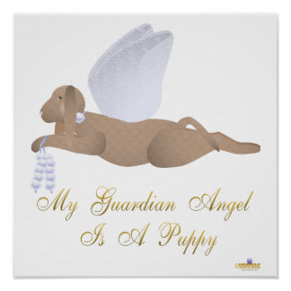 Angel Dog Brown Blue Roses Guardian Angel Puppy Poster