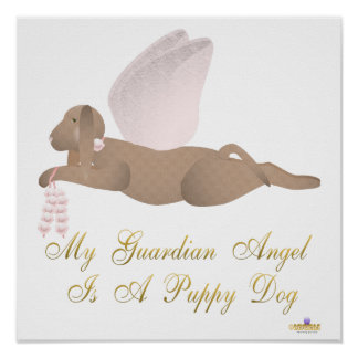 Angel Dog Brown Pink Roses Guardian Angel Puppy Do Posters
