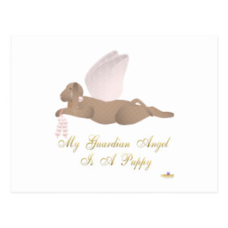 Angel Dog Brown Pink Roses Guardian Angel Puppy Post Cards