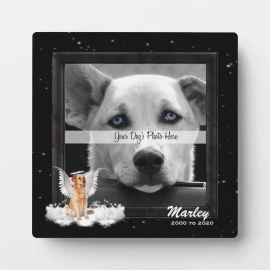 Angel Dog Golden Pet Memorial Photo Plaque