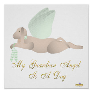 Angel Dog Tan Green Roses Guardian Angel Dog Posters