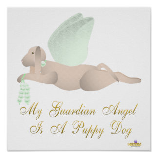Angel Dog Tan Green Roses Guardian Angel Puppy Dog Poster