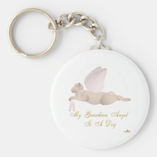 Angel Dog Tan Pink Roses Guardian Angel Dog Keychain