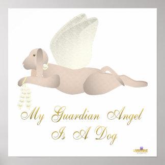 Angel Dog Tan Yellow Roses Guardian Angel Dog Posters