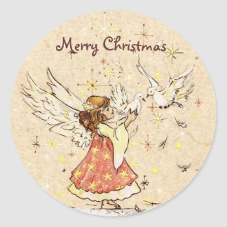 Angel & Doves Sticker Gift Tag