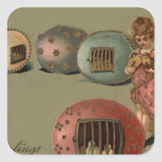 Angel Easter Chick Colored Egg Cage Square Sticker