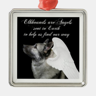 Angel Elkhound Christmas Ornament
