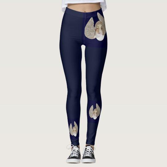 Angel Fashion Leggings--Women- Navy Blue/White Leggings