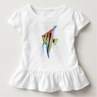 Angel Fish Butterflies Toddler Ruffle Tee, White Toddler T-Shirt