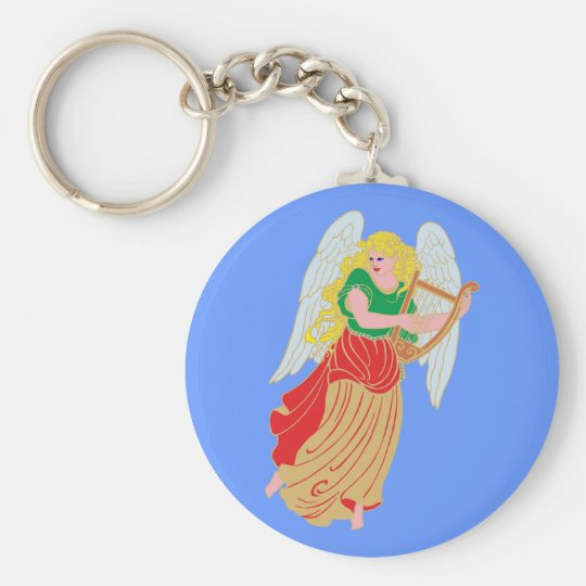 Angel fishing rod basic round button key ring