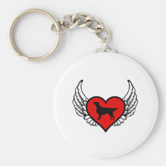Angel Flat-Coated Retriever dog winged Heart Basic Round Button Key Ring