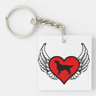 Angel Flat-Coated Retriever dog winged Heart Double-Sided Square Acrylic Key Ring