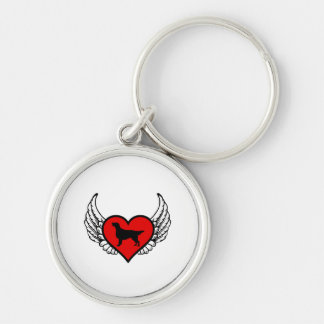 Angel Flat-Coated Retriever dog winged Heart Silver-Colored Round Key Ring