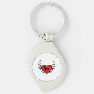 Angel Flat-Coated Retriever dog winged Heart Silver-Colored Swirl Key Ring
