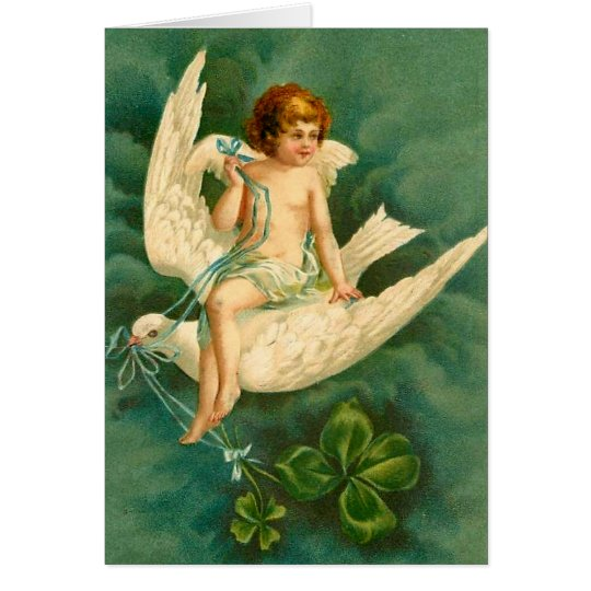 Angel Flying on a Dove - St Patrick's Day Card