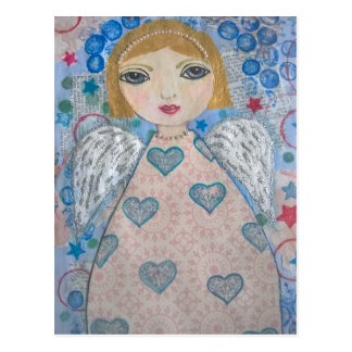 Angel - folk art style postcard