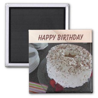 Angel Food  Birthday Cake Square Magnet