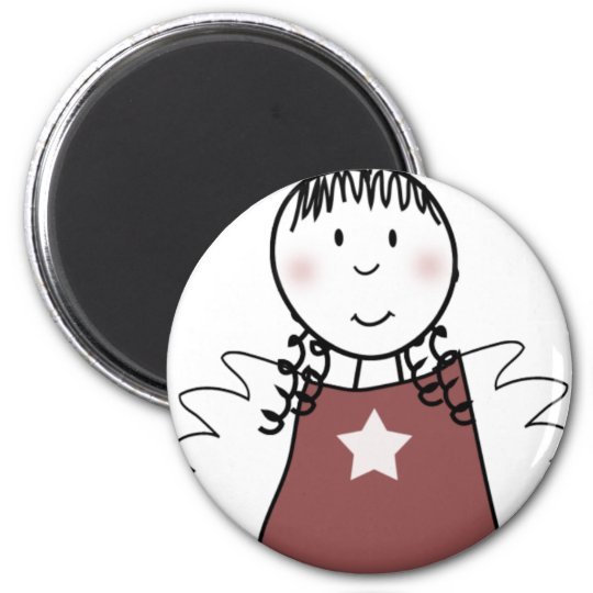 angel for christmas 6 cm round magnet