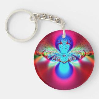 Angel Fractal Single-Sided Round Acrylic Key Ring