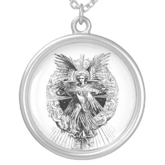 Angel from The Song of Bethlehem 1901 Round Pendant Necklace