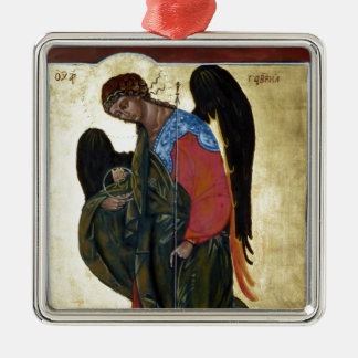 Angel Gabriel Silver-Colored Square Decoration
