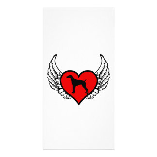 Angel German short-Haired Pointer winged Heart Photo Card