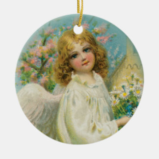 Angel Girl in White Ceramic Art Keepsake Ornament