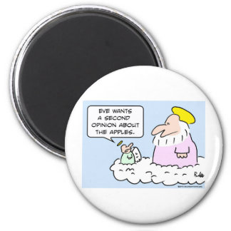 angel god eve apples second opinion 6 cm round magnet