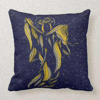 Angel Gold Blue Holiday Abstract Decor Art Pillow
