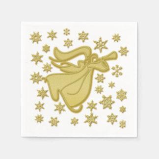 Angel gold white snowflake paper napkins
