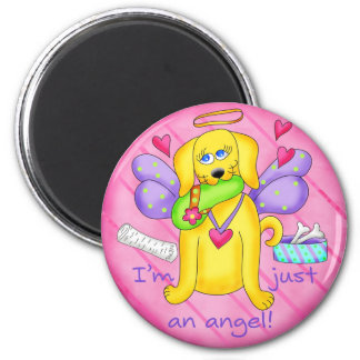Angel Golden Yellow Dog with Shoe 6 Cm Round Magnet
