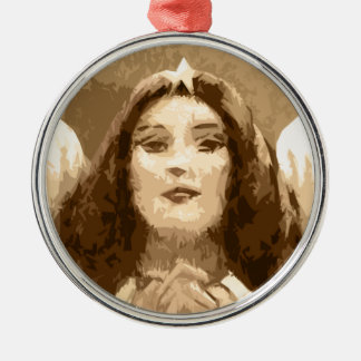 Angel Grace Silver-Colored Round Decoration
