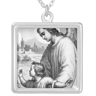 Angel Guarding A Child Silver Plated Necklace