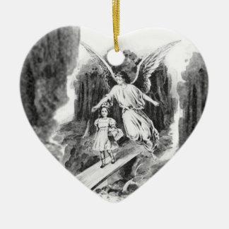 Angel Guarding A Girl Child Ceramic Heart Decoration