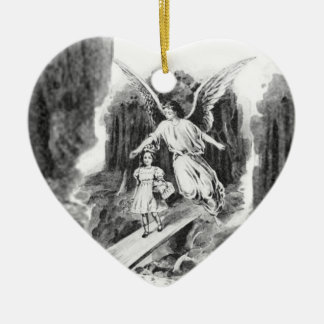Angel Guarding A Girl Child Christmas Ornament