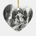 Angel Guarding A Girl Child Ceramic Heart Decoration