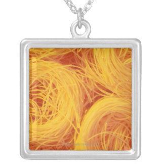 Angel hair pasta square pendant necklace