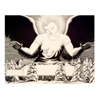 Angel Halo Peace On Earth Religious Snow Winter Postcard