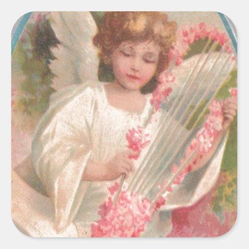 Angel Harp Music Easter Egg Cherry Tree Sticker