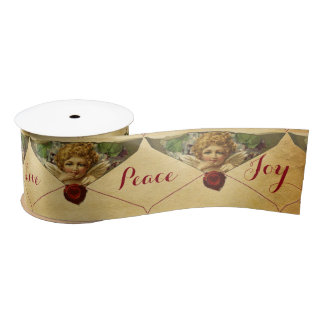 ANGEL HEART RED WAX SEAL PARCHMENT  Love Peace Joy Satin Ribbon